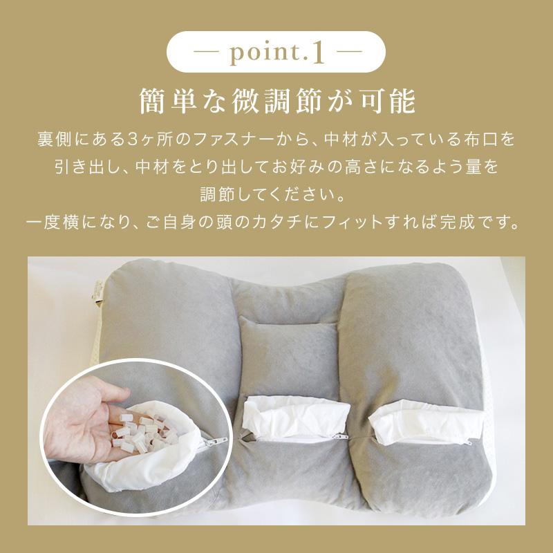 簡単な微調整が可能。裏側にある3箇所のファスナーから中材が入っている布口を引き出し、中材を取り出してお好みの高さになるよう量を調節してください。一度横になりご自身の頭の形にフィットすれば完成です。しっかり支える調整枕