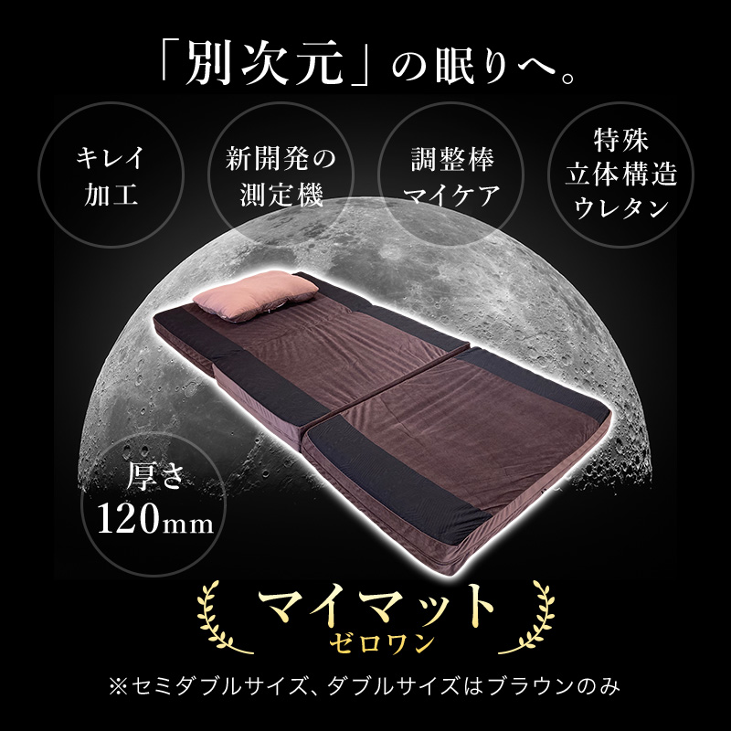 別次元の眠りへ。キレイ加工。新開発の測定機。調整棒マイケア。特殊立体構造ウレタン。厚さ12cm