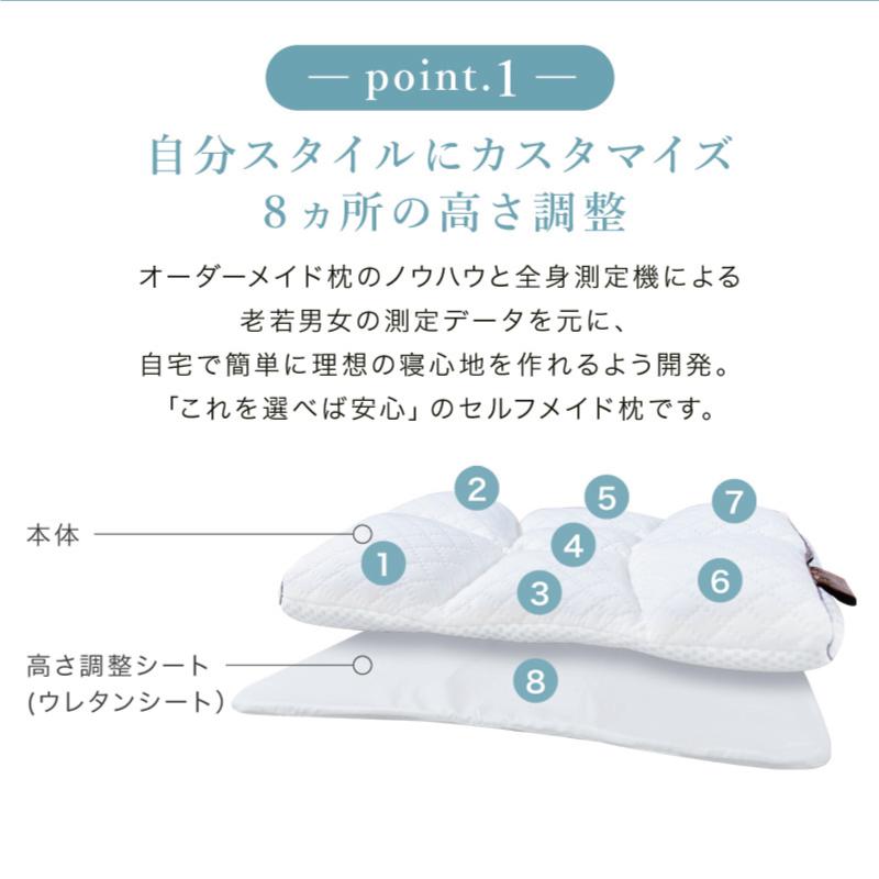 自分スタイルにカスタマイズ-8箇所の高さ調整-オーダーメイド枕のノウハウと全身測定機による老若男女の測定データを元に、自宅で簡単に理想の寝心地を作れるよう開発。新生活応援ふとん3点セット