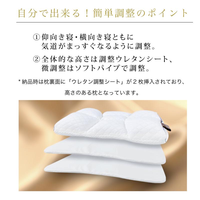 自分で出来る!簡単調整のポイント-①仰向き寝・横向き寝ともに  気道がまっすぐなるように調整。-②全体的な高さは調整ウレタンシート、  微調整はソフトパイプで調整。  -*納品時は枕裏面に「ウレタン調整シート」が2枚挿入されており、高さのある枕となっています。首肩快適枕プレミアム+マイまくらマットセット