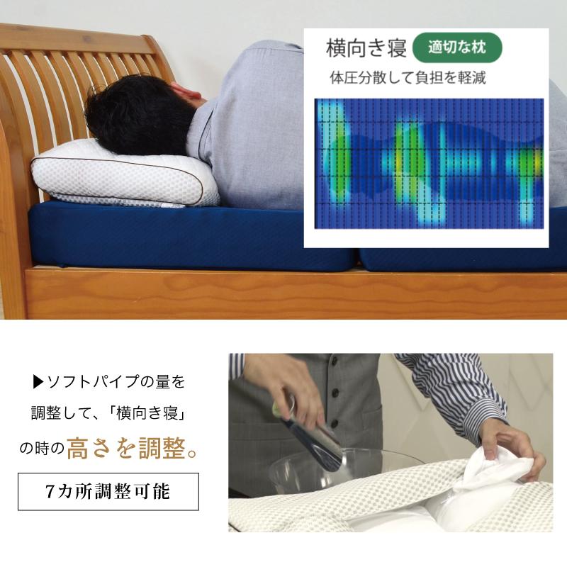 ソフトパイプの量を 調整して、「横向き寝」 の時の高さを調整。-首肩快適枕プレミアム+マイまくらマットセット
