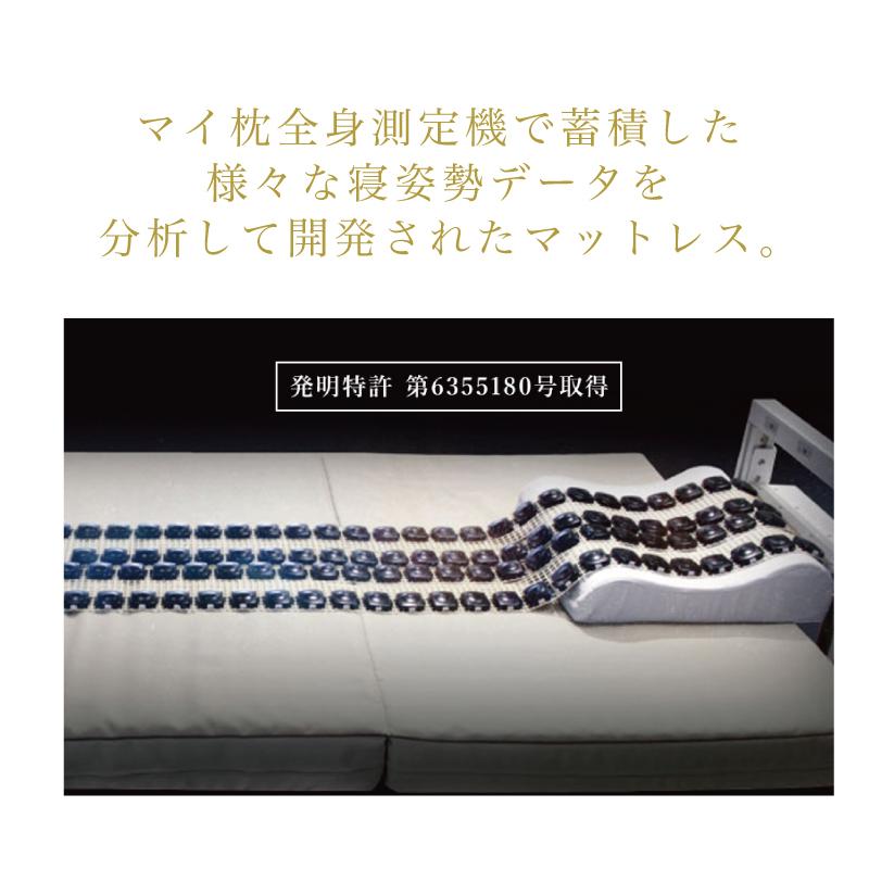 マイ枕全身測定機で蓄積した 様々な寝姿勢データを 分析して開発されたマットレス。-首肩快適枕プレミアム+マイまくらマットセット
