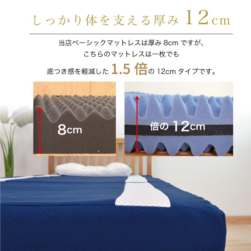 しっかり体を支える厚み12cm-当店定番のマットレスは厚み8cmですが、マイマットは一枚でも 底つき感を軽減した1.5倍の12cmタイプです。-首肩快適枕プレミアム+マイまくらマットセット