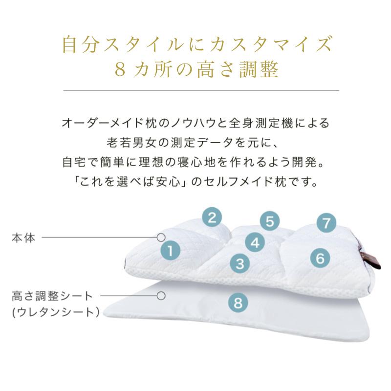 自分スタイルにカスタマイズ 8カ所の高さ調整-首肩快適枕プレミアム+マイまくらマットセット