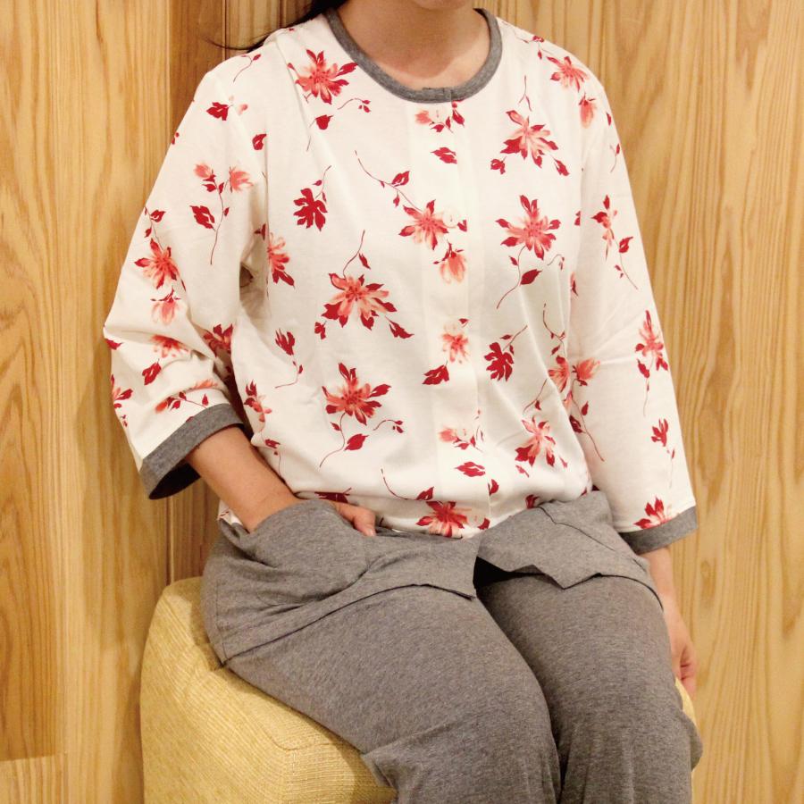 花柄7分袖レディースパジャマ