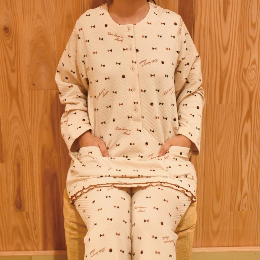 わた入りリボン柄レディースパジャマ