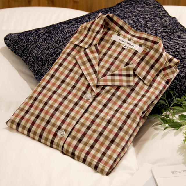 *LIMITED ITEM-数量限定品-* 麻混 長袖チェックシャツパジャマ レディース