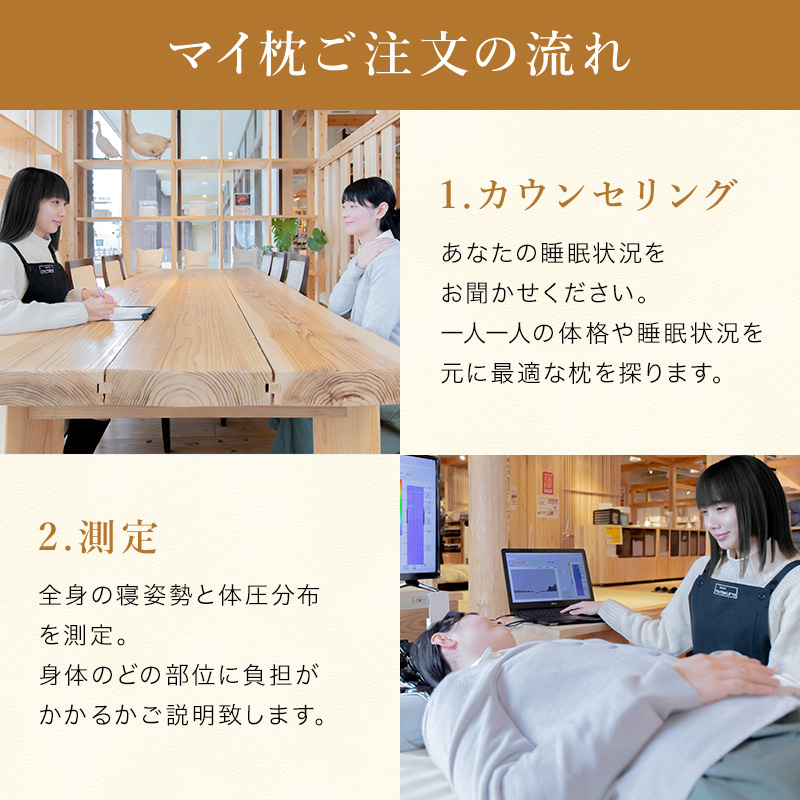 仰向け寝と横向き寝の姿勢では必要な高さが違います。必要な高さをしっかり算出!敷きふとんの硬さによっても必要な枕の高さは変わります。マイ枕はいつでも無料でメンテナンスいたします。